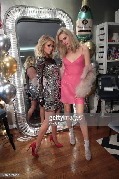 Paris Hilton and Andreja Pejic attend the Paris Hilton X Beautycon Festival NYC PreParty on April 20 2018 in New York City