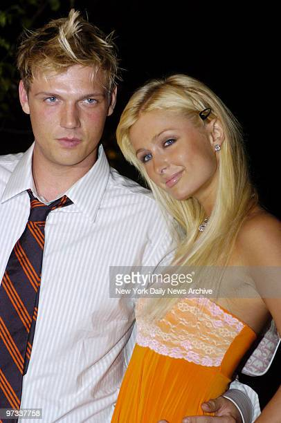 Paris Hilton and beau Nick Carter of the Backstreet Boys are on hand for a party at PlayStation 2 in Bridgehampton LI