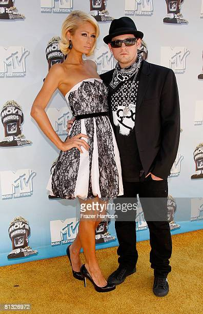 Paris Hilton and Benji Madden arrive at the 17th annual MTV Movie Awards held at the Gibson Amphitheatre on June 1 2008 in Universal City California
