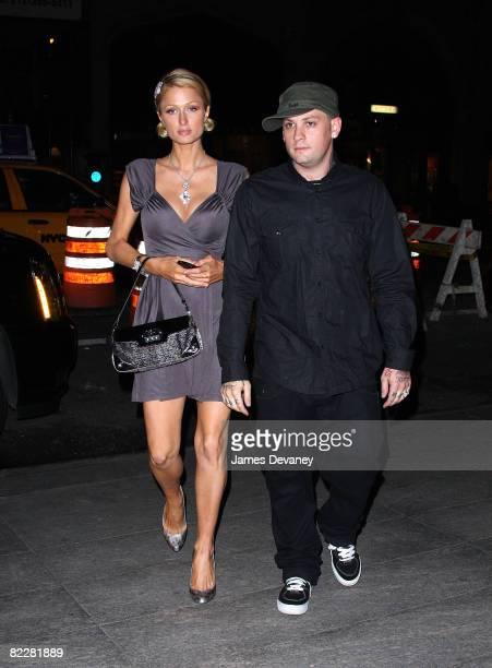 Paris Hilton and Benji Madden visit Nobu 57 on August 12, 2008 in New York City.
