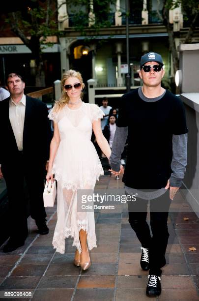 Paris Hilton and boyfriend Chris Zylka arrive at the MTV Rosé Rush launch party during a promotion visit to Australia on November 29 2017 in Sydney...