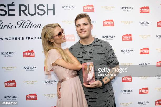 Paris Hilton and boyfriend Chris Zylka during a promotion visit to Australia to launch her 23rd fragrance Rosé Rush on November 30 2017 in Sydney...