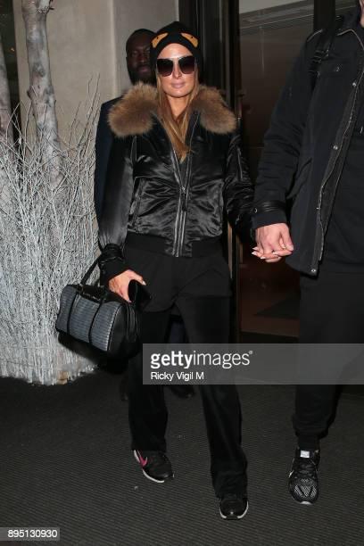 Paris Hilton and boyfriend Chris Zylka seen leaving Mayfair hotel on December 18 2017 in London England