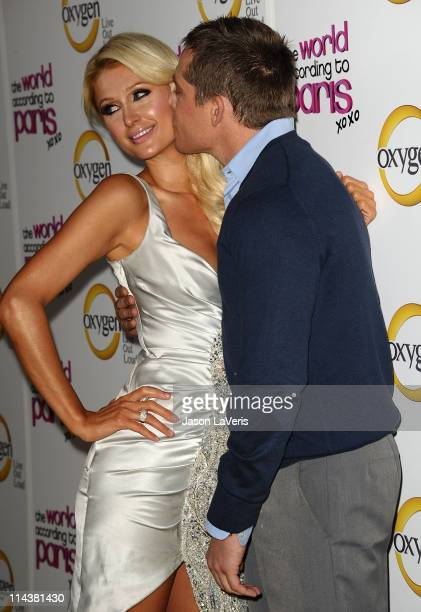 Paris Hilton and boyfriend Cy Waits attend Oxygen's The World According To Paris premiere party at Tropicana Bar at The Hollywood Rooselvelt Hotel on...