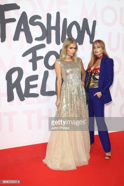 Paris Hilton and Brandi Howe attend Fashion for Relief Cannes 2018 during the 71st annual Cannes Film Festival at Aeroport Cannes Mandelieu on May 13...