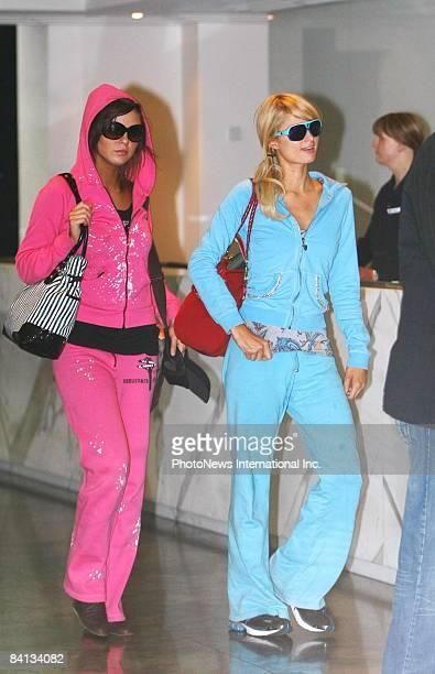 Paris Hilton and Brittany Flickinger arrive at Melbourne International Airport on December 29 2008 in Melbourne Australia