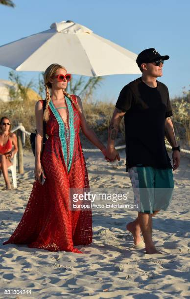 Paris Hilton and Chris Zylka are seen on August 11 2017 in Formentera Spain