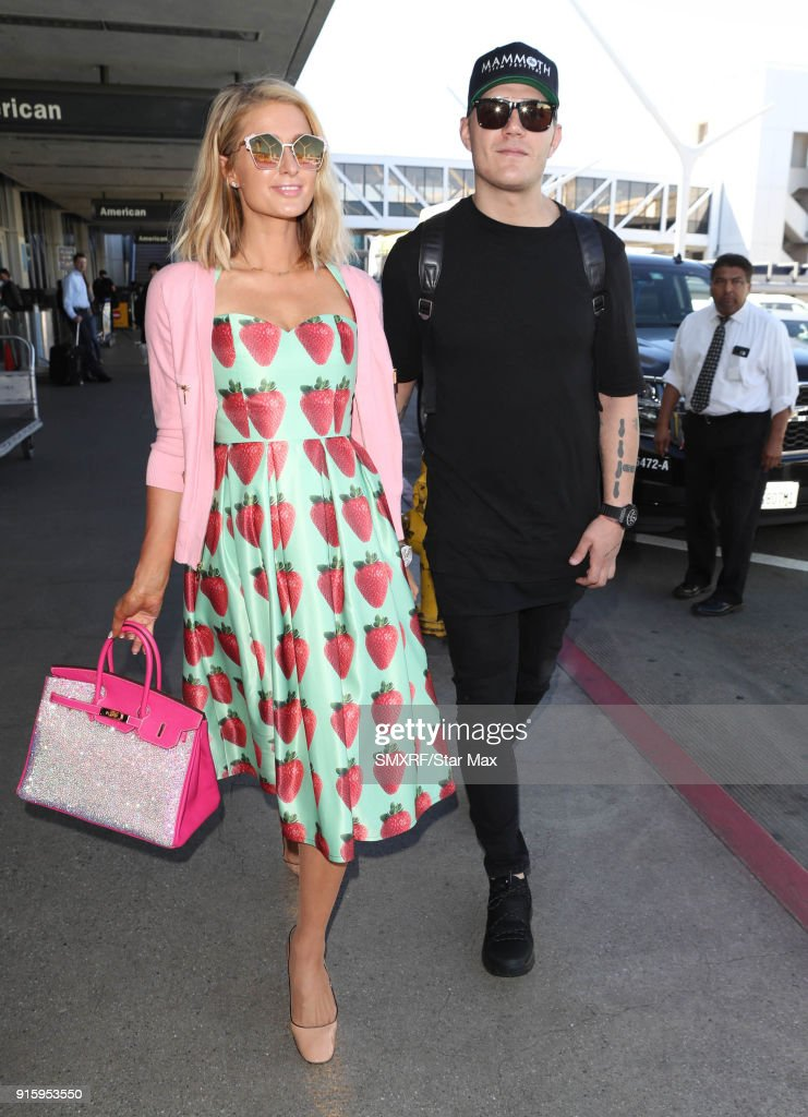 Paris Hilton and Chris Zylka are seen on February 8, 2018 in Los Angeles, California.