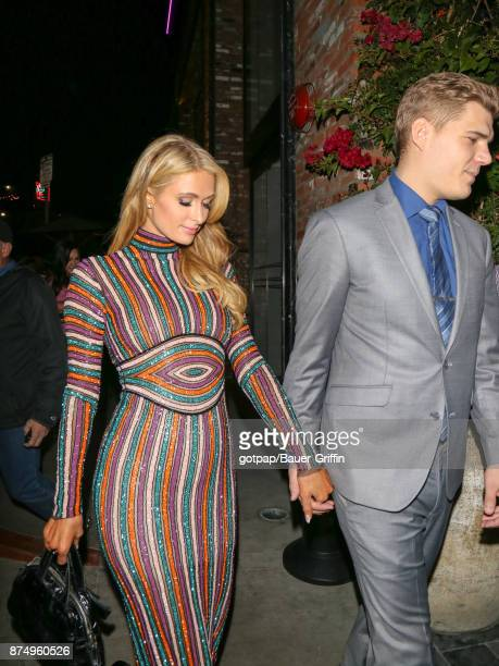 Paris Hilton and Chris Zylka are seen on November 15 2017 in Los Angeles California