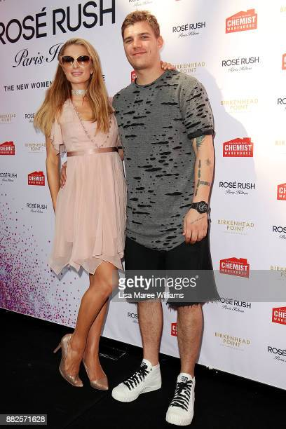 Paris Hilton and Chris Zylka at the launch of her new fragrance Rose Rush on November 30 2017 in Sydney Australia