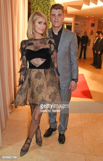 Paris Hilton and Chris Zylka attend the first annual gala hosted by MAISONDEMODECOM and Perrier Jouet to celebrate Sustainable Style by honoring Suzy...