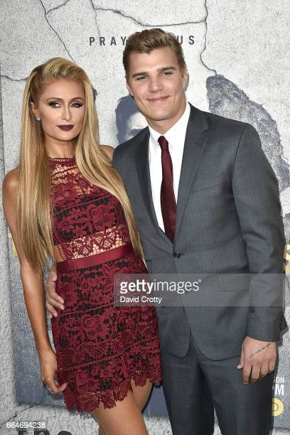 Paris Hilton and Chris Zylka attend the Premiere Of HBO's The Leftovers Season 3 Arrivals at Avalon Hollywood on April 4 2017 in Los Angeles...