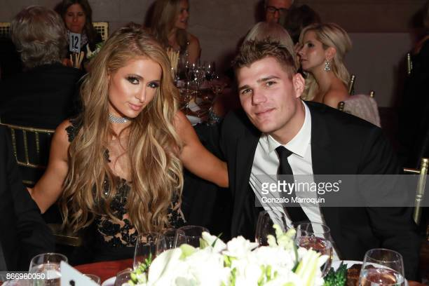 Paris Hilton and Chris Zylka during the Fashion Group International 34th Annual Night of Stars Gala on October 26 2017 in New York City