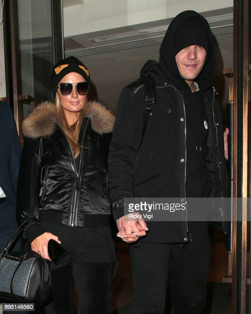 Paris Hilton and Chris Zylka seen leaving Mayfair hotel on December 18 2017 in London England