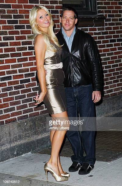 Paris Hilton and Cy Waits depart Late Show With David Letterman at the Ed Sullivan Theater on February 17 2011 in New York City