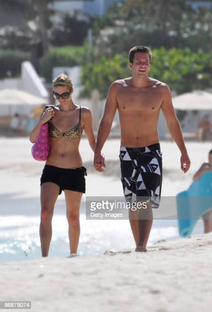 Paris Hilton and Doug Reinhardt are seen at the beach in Maundays bay at Hotel Cap Juluca on May 9 2009 in Anguilla British Virgin Islands