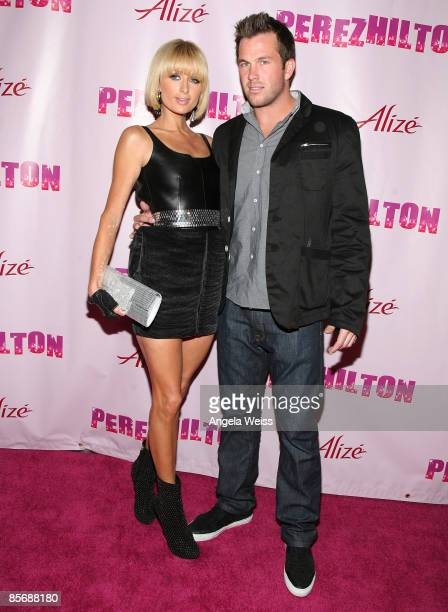 Paris Hilton and Doug Reinhardt arrive at Perez Hilton's 'OMFB' 31st Birthday Party held at The Viper Room on March 28 2009 in West Hollywood...