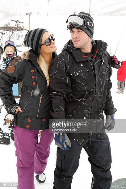 Paris Hilton and Doug Reinhardt attend Oakley 'Learn To Ride' Snowboard fueled by Muscle Milk at Oakley Lodge on January 23 2010 in Park City Utah