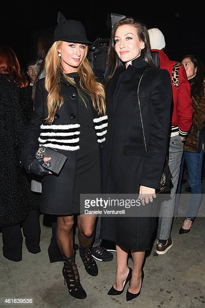 Paris Hilton and Eleonora Berlusconi attend the Dsquared2 during the Milan Menswear Fashion Week Fall Winter 2015/2016 on January 16 2015 in Milan...