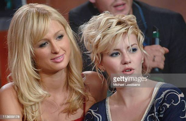 Paris Hilton and Elisha Cuthbert during Cast of 'House of Wax' Visits Fuse's 'Daily Download' May 4 2005 at Fuse Studios in New York City New York...