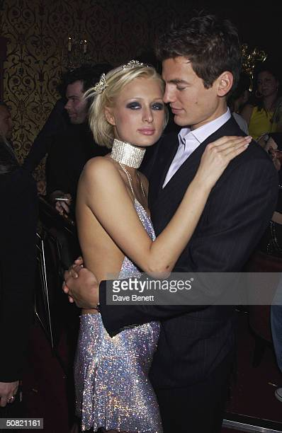 Paris Hilton and her boyfriend celebrate her 21st Birthday Party at the Stork Rooms in Swallow Street on May 3 2002 in London