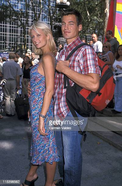 Paris Hilton and Jason Shaw during Mercedes Benz Fashion Week Tommy Hilfiger Spring 2002 Fashion Show at Bryant Park in New York City New York United...
