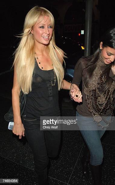 Paris Hilton and Kim Kardashian at the Paris Hilton and Kim Kardashian Sighting in Los Angeles January 3 2007 at Teddy's in Los Angeles California