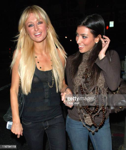 Paris Hilton and Kim Kardashian during Paris Hilton and Kim Kardashian Sighting in Los Angeles January 3 2007 at Teddy's in Los Angeles California...