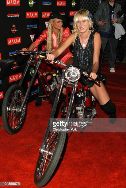 Paris Hilton and Kimberly Stewart during Maxim Magazine's Annual Hot 100 Party at 1400 Ivar in Hollywood CA United States
