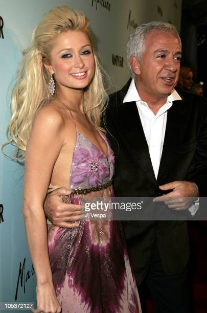 Paris Hilton and Maurice Marciano during The Launch of Marciano Hosted by Vanity Fair at Dolce in Los Angeles California United States