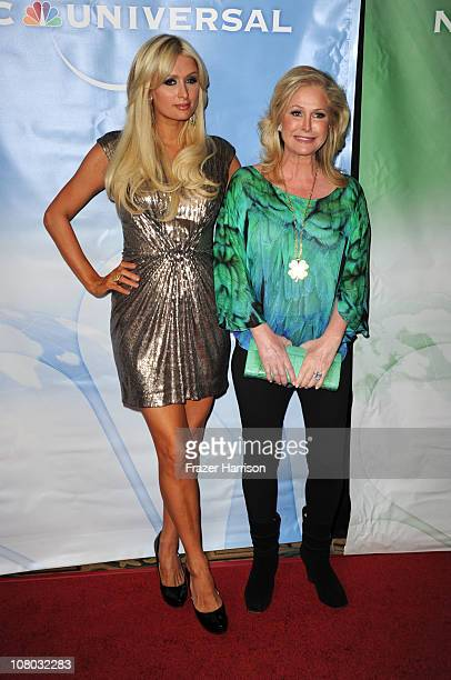 Paris Hilton and mother Kathy Hilton arrive at the NBC Universal 2011 Winter TCA Press Tour All-Star Party at the Langham Huntington Hotel on January...