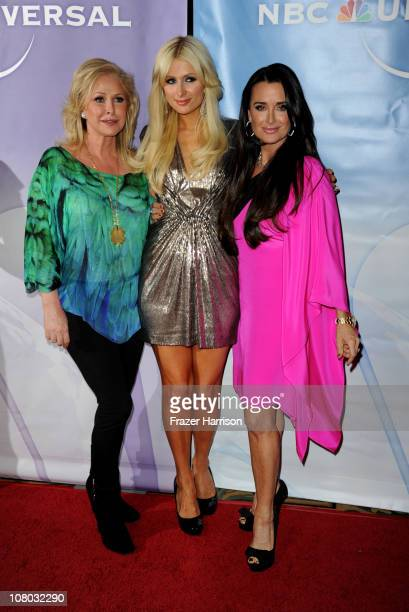 Paris Hilton and mother Kathy Hilton with Kyle Richards arrive at the NBC Universal 2011 Winter TCA Press Tour All-Star Party at the Langham...