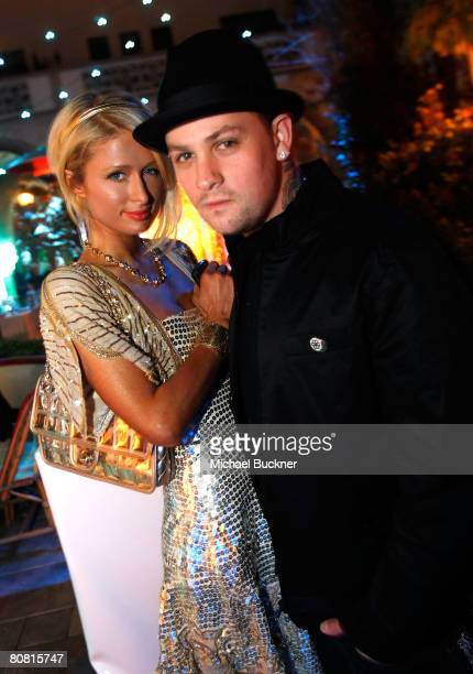 Paris Hilton and musician Benji Madden attend Jade Jagger's unveiling of Bevledere's Jagger Dagger at the Chateau Marmont on April 21, 2008 in...