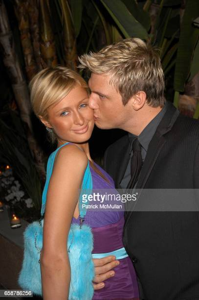 Paris Hilton and Nick Carter attend Clive Davis preGrammy Awards party at Beverly Hills Hotel on February 7 2004 in Los Angeles CA