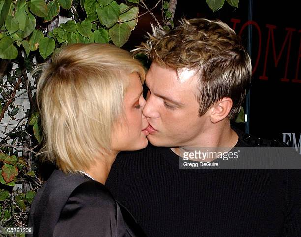 Paris Hilton and Nick Carter during Emporio Armani and ELLE Magazine Host Women On The Verge Party at Emporio Armani in Beverly Hills California...