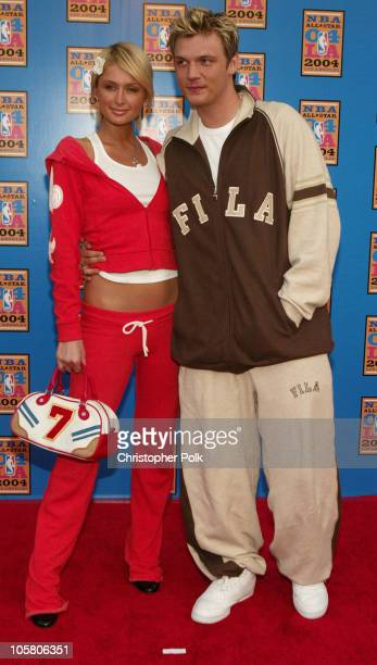 Paris Hilton and Nick Carter during NBA AllStar Game Arrivals at Staples Center in Los Angeles California United States