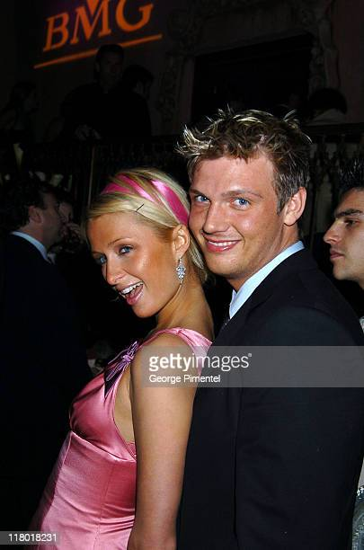 Paris Hilton and Nick Carter in the Hennessy Lounge at the BMG GRAMMY after party