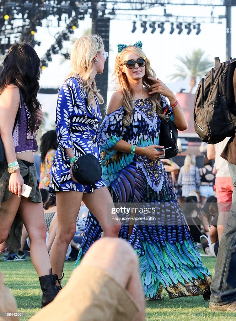 Paris Hilton and Nicky Hilton are seen at Coachella Valley Music and Arts Festival at The Empire Polo Club on April 11, 2015 in Indio, California.