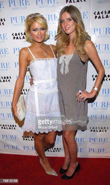 Paris Hilton and Nicky Hilton arrive at the Pure Nightclub Caesars Palace for Paris Hilton to Celebrate a Burlesque Birthday February 16 2008 in Las...