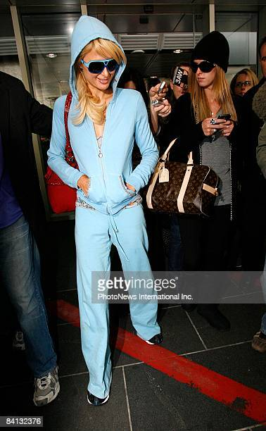Paris Hilton and Nicky Hilton arrive at Tullamarine International Arport on December 29 2008 in Melbourne Australia