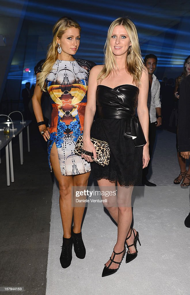 Paris Hilton and Nicky Hilton attend a party as Moncler Celebrates Its 60th Anniversary At Art Basel Miami Beach on December 7, 2012 in Miami Beach, Florida.