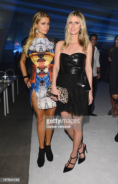 Paris Hilton and Nicky Hilton attend a party as Moncler Celebrates Its 60th Anniversary At Art Basel Miami Beach on December 7, 2012 in Miami Beach,...