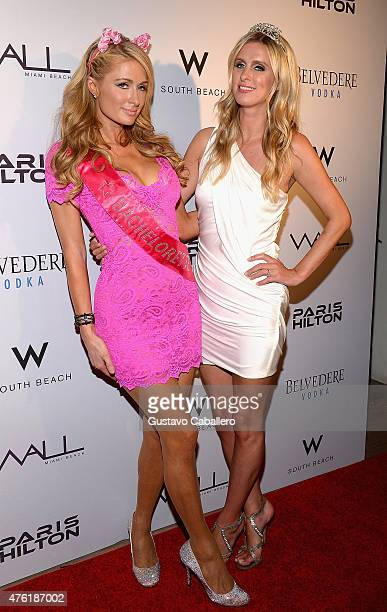 Paris Hilton and Nicky Hilton celebrate Nicky's bachelorette weekend at Wall at W Hotel on June 6 2015 in Miami Beach Florida