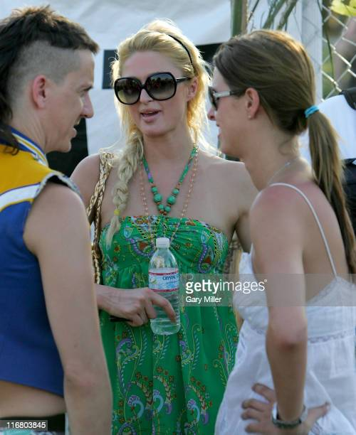 Paris Hilton and Nicky Hilton during Coachella Valley Music and Arts Festival Day 3 Sightings at Empire Polo Field in Indio California United States
