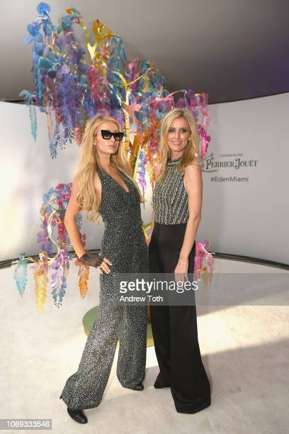 Paris Hilton and Nicky Hilton Rothschild attend L'Eden by PerrierJouët on December 6 2018 in Miami Beach Florida