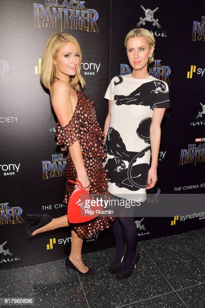 Paris Hilton and Nicky Hilton Rothschild attend the screening of Marvel Studios' 'Black Panther' hosted by The Cinema Society on February 13 2018 in...