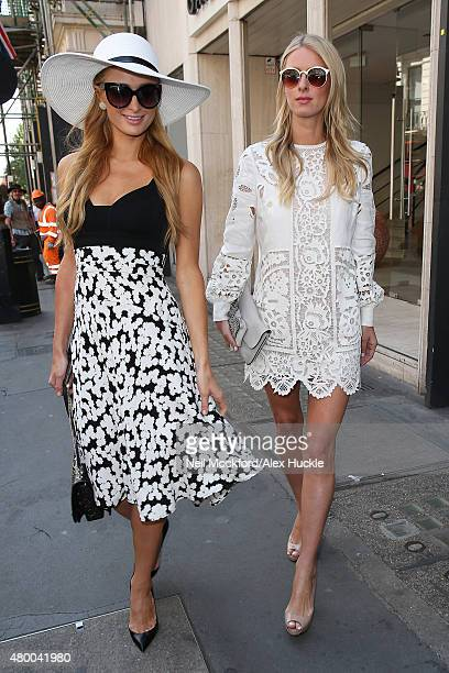 Paris Hilton and Nicky Hilton seen shopping on Dover Street on July 9 2015 in London England