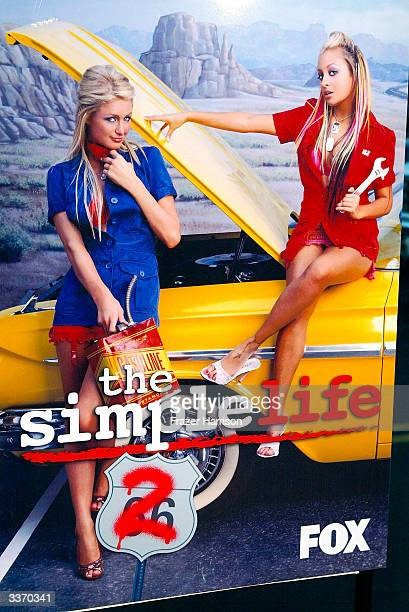 Paris Hilton and Nicole Richie are seen on a poster for the Simple Life 2 Welcome Home Party at The Spider Club on April 14 2004 in Hollywood...