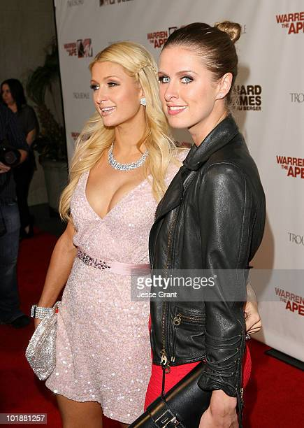 """Paris Hilton and Nikki Hilton arrive at the MTV Series Premiere of """"The Hard Times of RJ Berger"""" and """"Warren The Ape"""" at Trousdale on June 7, 2010 in..."""