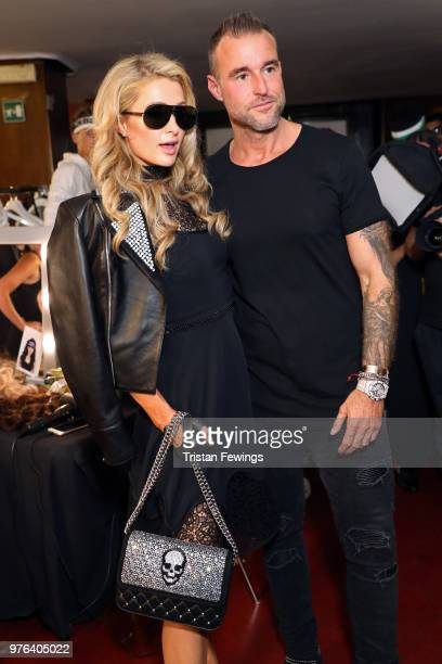 Paris Hilton and Philipp Plein are seen backstage ahead of the Plein Sport show during Milan Men's Fashion Week Spring/Summer 2019 on June 16 2018 in...